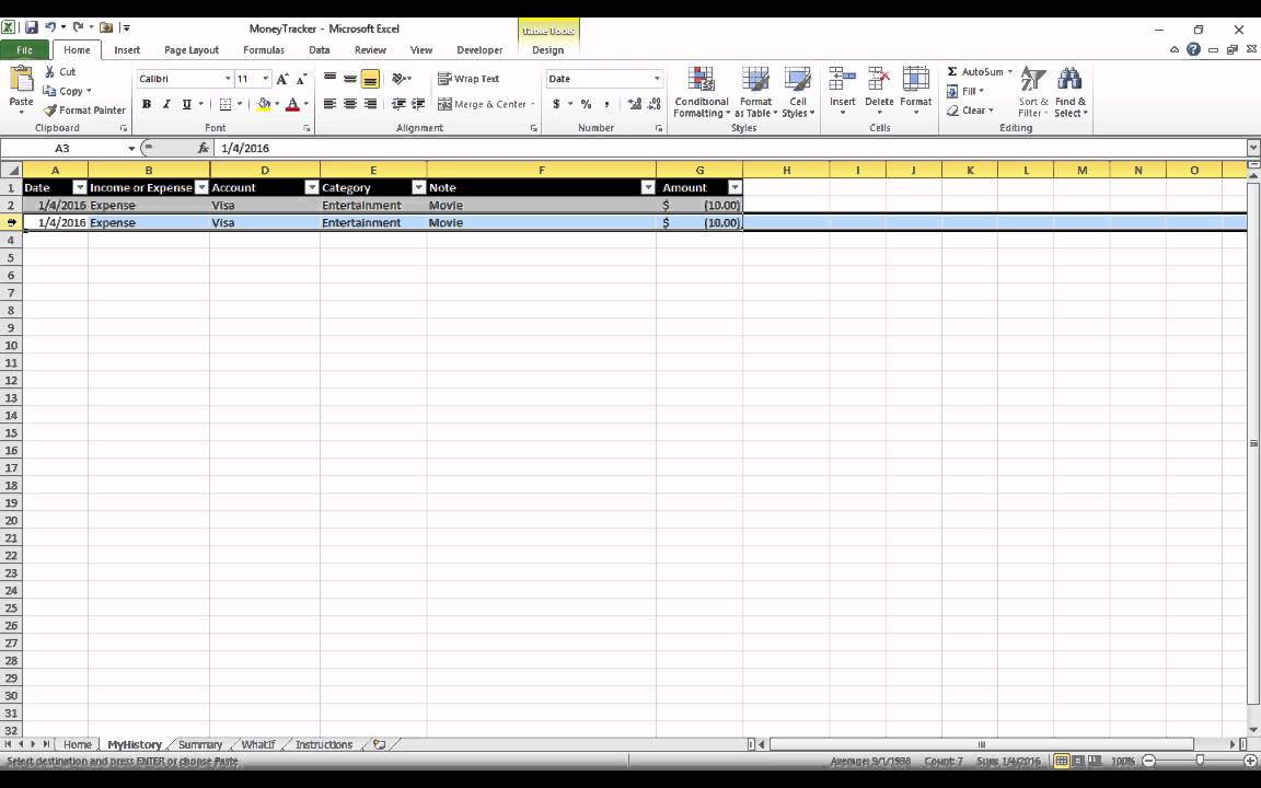 Home Expense Tracker Excel Template