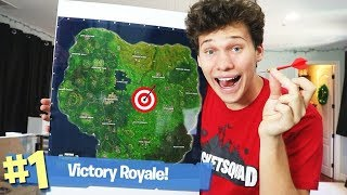 USING THE FORTNITE DART BOARD TO LAND CHALLENGE - FORTNITE