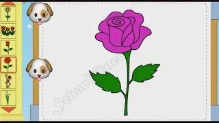 Bé tập vẽ các loại hoa vẽ cây nấm - Flower drawing tutorials