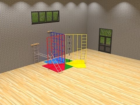 3 Gate Steel Foldaway Climbing Frame with Wall Fixed Ladder from Continental Sports