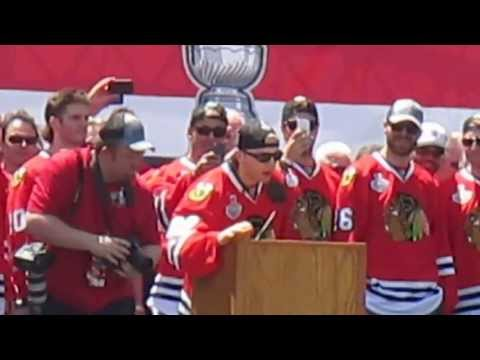 Chicago Blackhawks-- Crawford Speech EPIC!!! Stanley Cup Celebration 2013