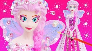 FROZEN ELSA PINKIE PEARL FAIRY PRINCESS DRESS Paint Your Own Makeover Glitter Doll Bank How To