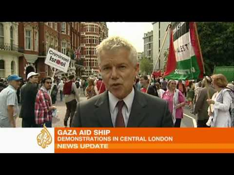 Demonstrations in London against Israeli raid on Gaza aid flotilla