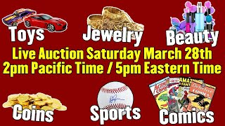LIVE AUCTION + GIVEAWAY! - Jewelry, Toys, Comics, TONS of Beauty Supplies, Sports, Coins and MORE!