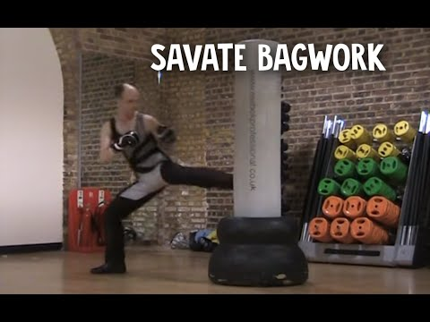 Savate kickboxing bag work Image 1