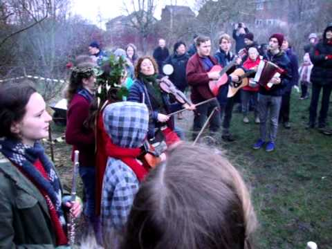 'Wassailing' in the Fairfield Association's Orchard, Lancaster 2014.