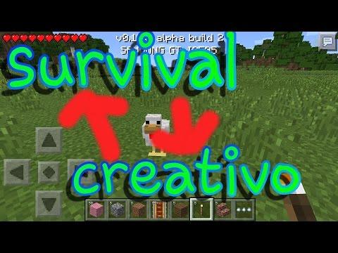 Como cambiar de creativo a survival Minecraft PE 0.10.0