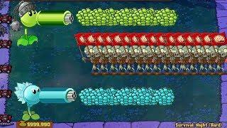 Gatling Pea vs Snow Pea vs Garlic Plants vs Zombies