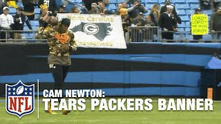 Cam Newton Rips Down Packers Fans' Banner! (Video Proof!) | NFL