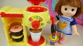 Baby doll Tea time with Robocar Poli car Pororo Cafe machine toys and School play