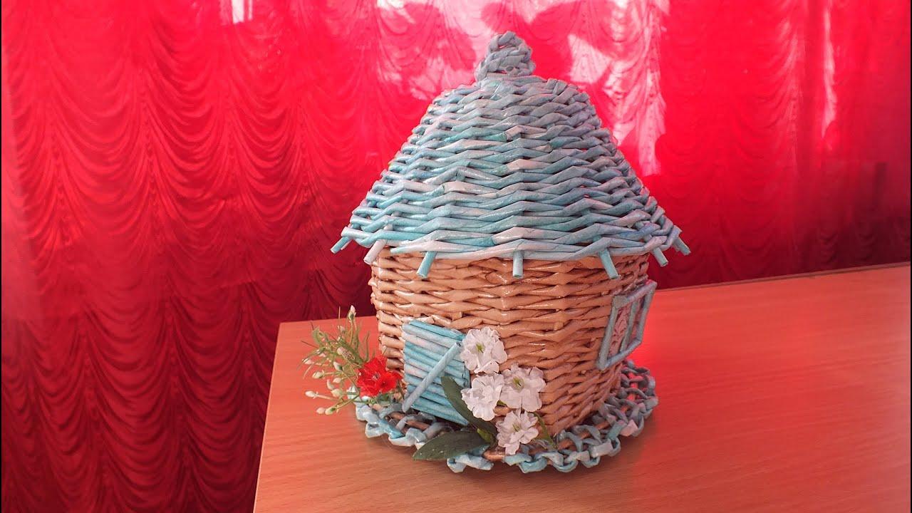 Поделка изделие Плетение Чайный домик Плетение из газет 76