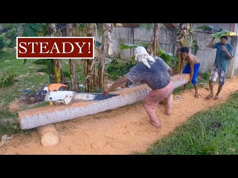 Chainsaw - Bare feet - Alcohol - No health and safety! - Leyte - Philippine daily life