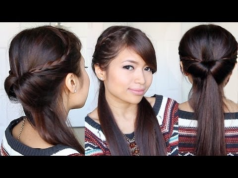 Tucked In Lace Braid Half-up Half-down Hairstyle - Bebexo Hair Tutorial