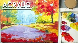 An Autumn Scene in Acrylic on Canvas | work of stroke in a creative way