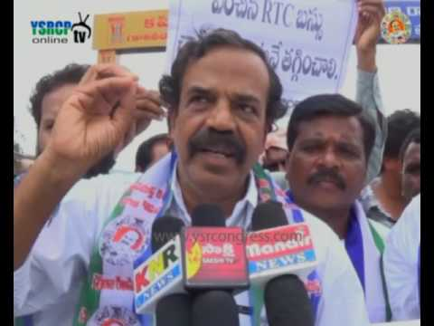 Karimnagar : TYSRCP leaders protests against TRS Govt over Bus Charges Hike - 28th Jun 2016