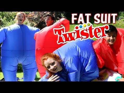 Playing Fat Suit Twister Game / Blow-Up Inflatable Chubby Suits   NiliPOD