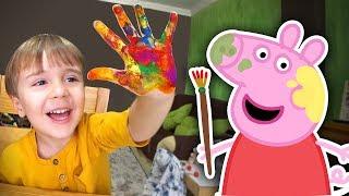 PINTANDO DESENHO DA PEPPA PIG E PIKACHU COM AS MÃOS!! Tintas Coloridas Learn Colors for Kids