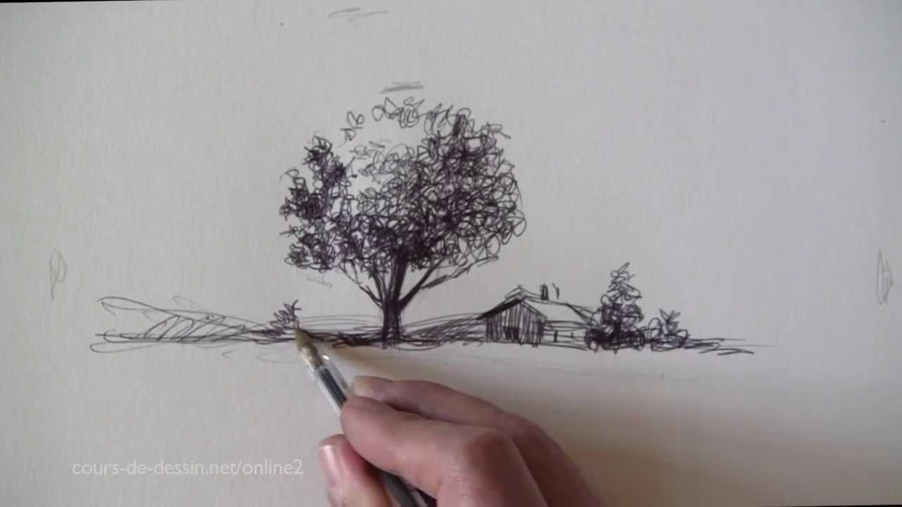 Dessiner un paysage quel outil choisir youtube - Dessin a colorier paysage ...
