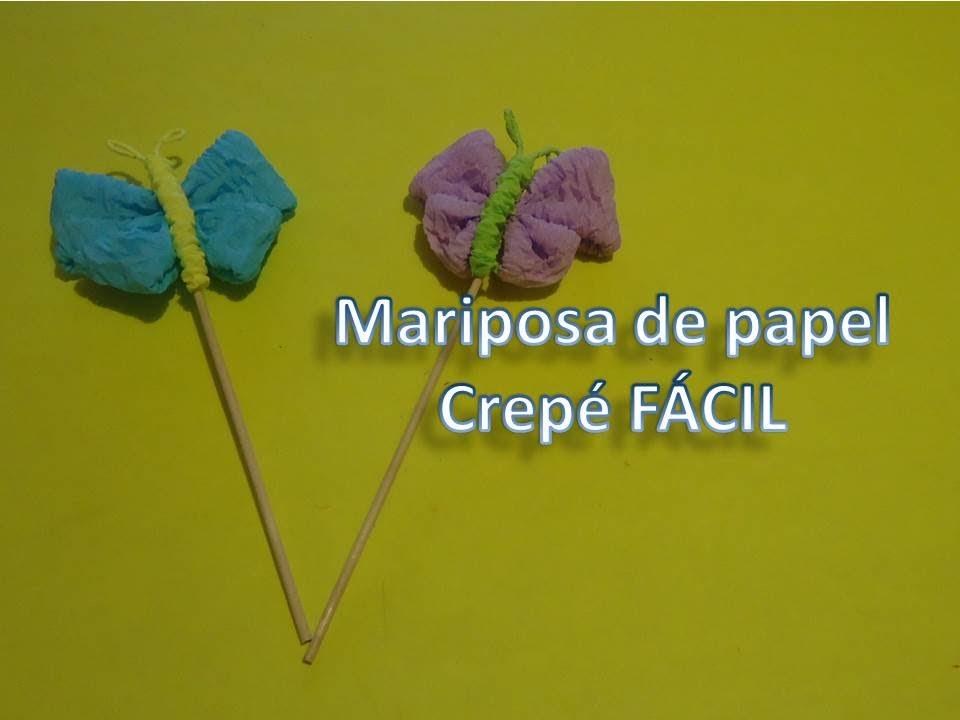 Mariposa de papel crep corrugado f cil youtube - Como hacer mariposas de papel ...