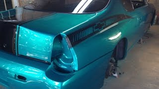 How To Spray Candy Paint / Footage In The Booth / Update 9 - 2000 Monte Carlo SS Candy Teal