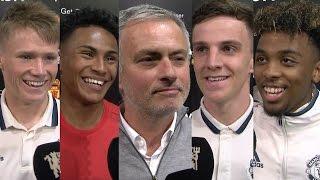 Interviews with Jose Mourinho, Josh Harrop, Demetri Mitchell, Angel Gomes & Scott McTominay