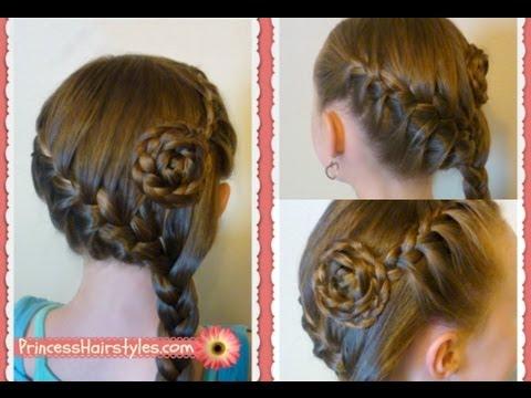 side swept french braid flower hairstyle medium long