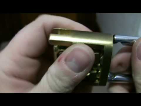 Demo of a cutaway Sesamee combination padlock.