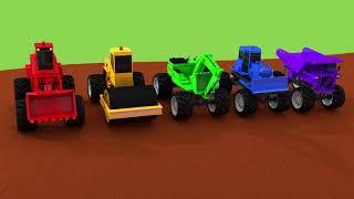 Learn Colors Construction Vehicle VS Street Vehicle Magic Slide Nursery Rhymes & Kids Songs