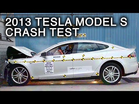 2013 Tesla Model S   Frontal Crash Test by NHTSA   CrashNet1