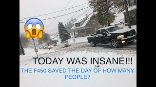 TAKING OUT MY LIFTED FORD F450 TO HELP PEOPLE IN TERRIBLE SNOW AND ICE STORM!! 11/15/18