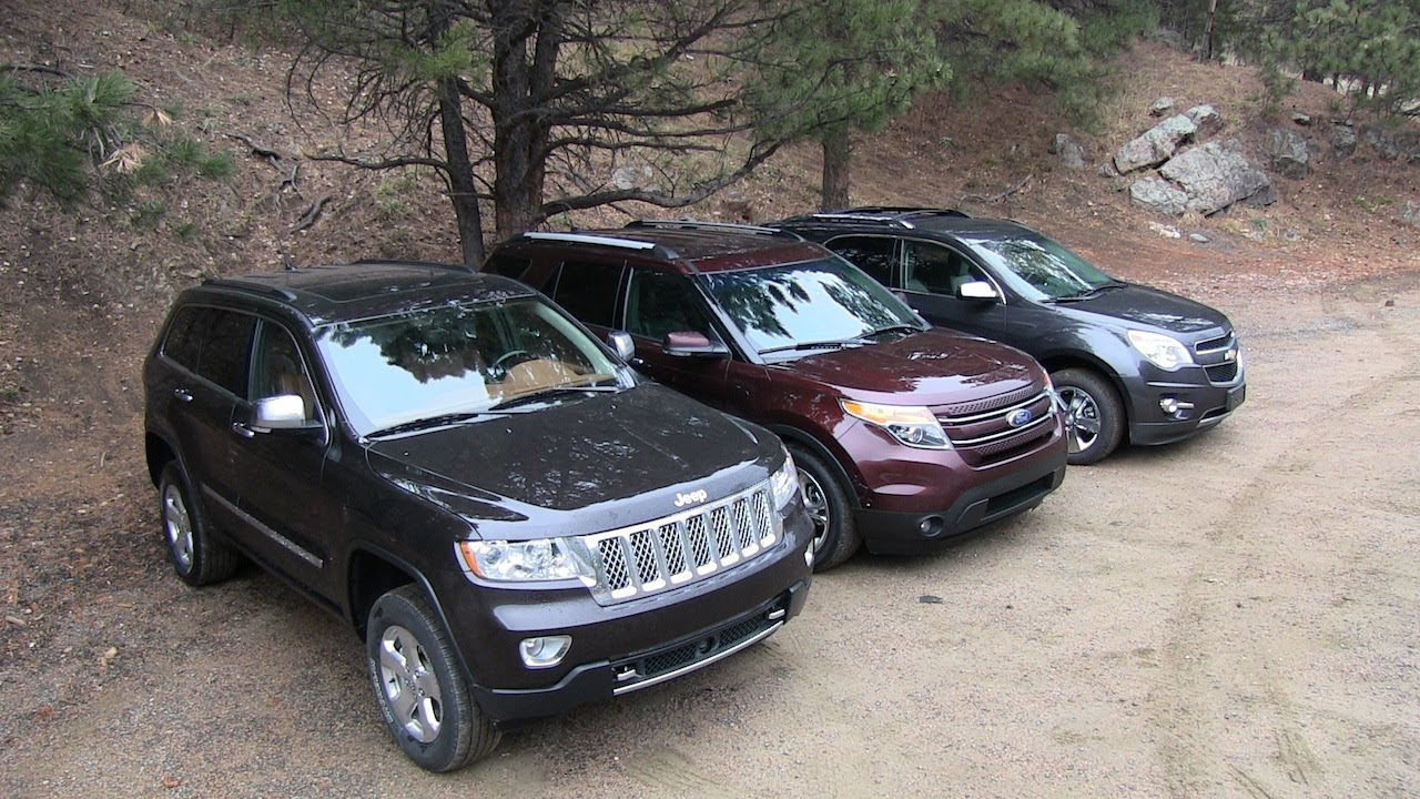 2012 Ford Explorer Lifted >> 2013 Chevy Equinox v Ford Explorer v Jeep Grand Cherokee Off-Road Mashup AWD Tech Review - YouTube