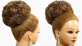 Download Hairstyle for long hair tutorial. Bridal updo with extensions 3Gp Mp4