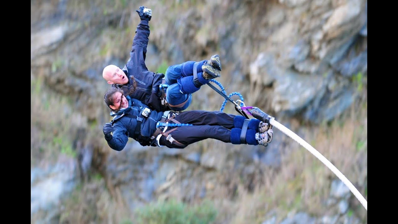 3/22/11, Queenstown, New Zealand: Two girls tandem bungee