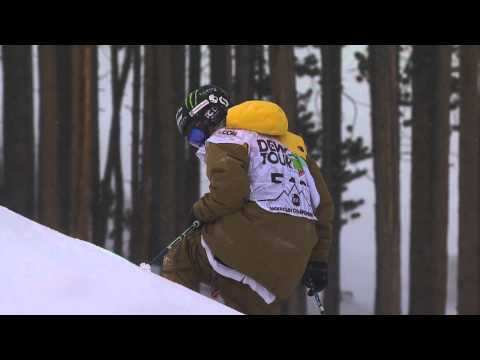 Tom Wallisch Loses Ski in the Air, Avoids Crash - Dew Tour Freeski Slopestyle Final