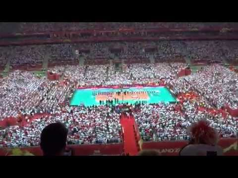 The national anthem of Serbia welcomed by Polish fans in Warsaw 2014