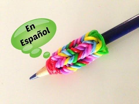 Rainbow Loom en ESPAñOL - Adaptador para Lapiz de Gomita DIY FÁCIL- Pencil Gri