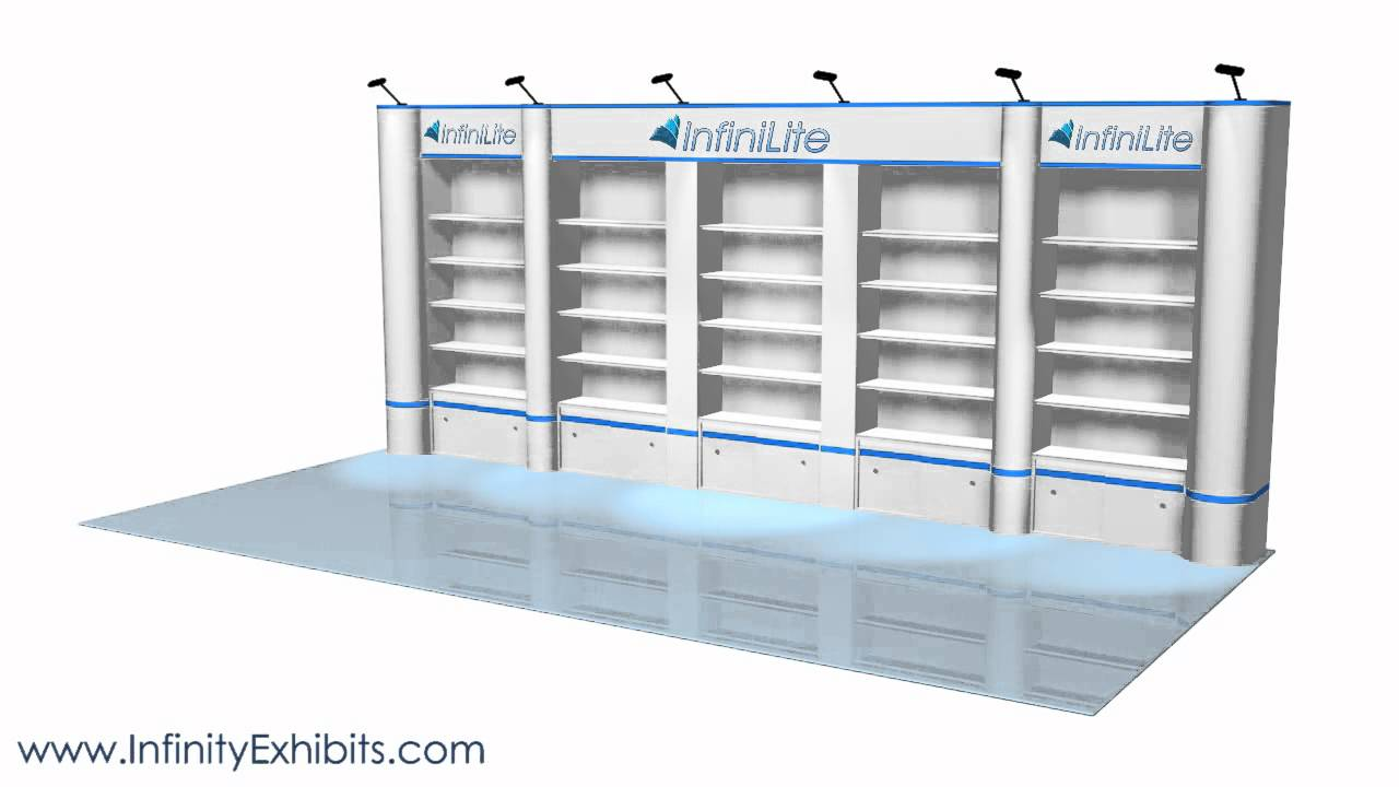 Trade Show Booth With Shelves : Ft multi section shelf with rounds trade show display