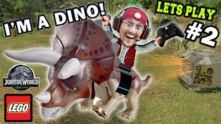 Lets Play LEGO Jurassic World Part 2: Duddy Rides a Dino! Welcome to Jurassic Park (FGTEEV Gameplay)