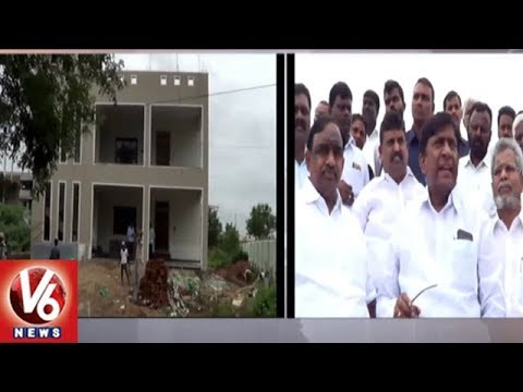 TRS MP Vinod Inspects Husnabad Double Bedroom Houses Construction | V6 News