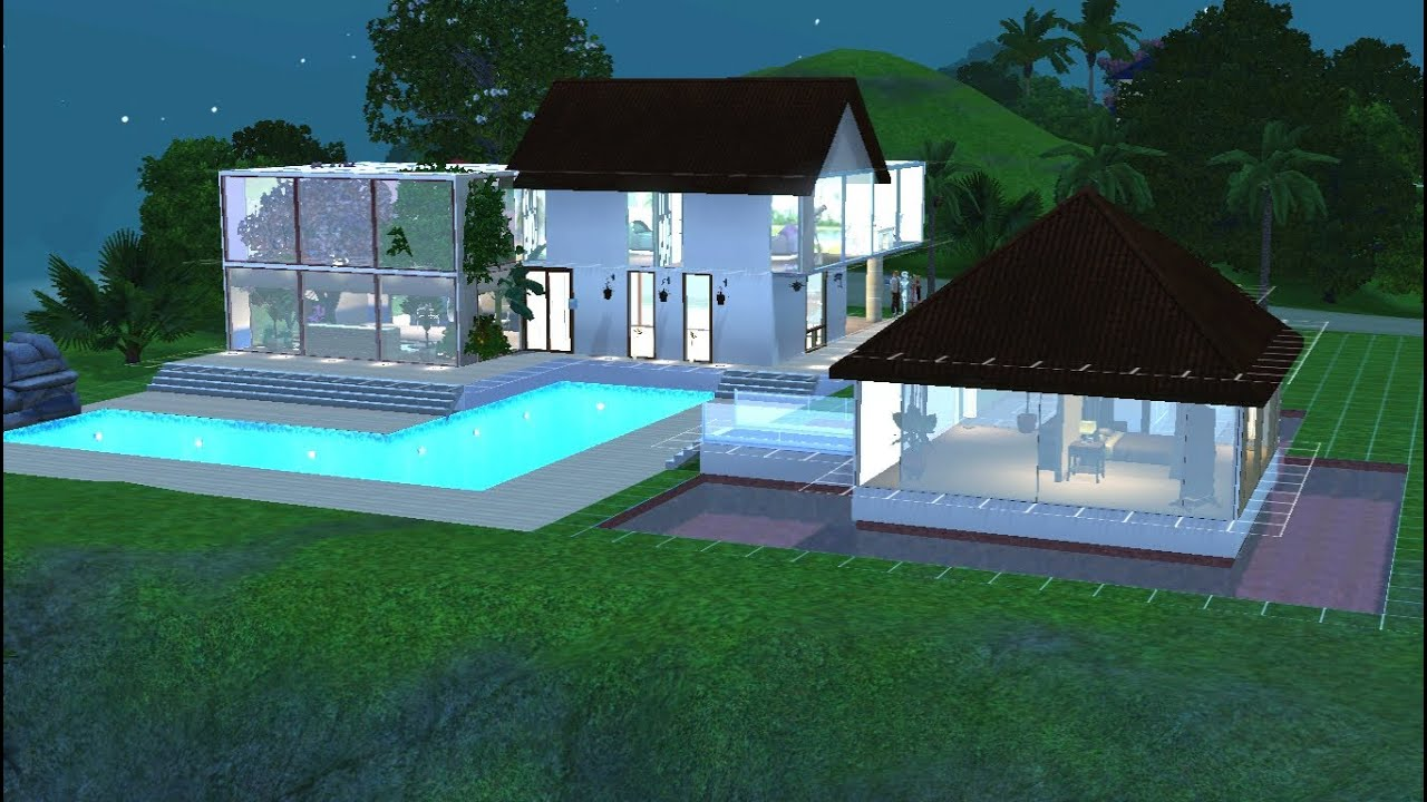 sims 3 construction d 39 une maison moderne et tropicale youtube. Black Bedroom Furniture Sets. Home Design Ideas