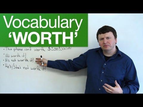 English Vocabulary – WORTH