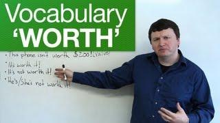 English Vocabulary - WORTH