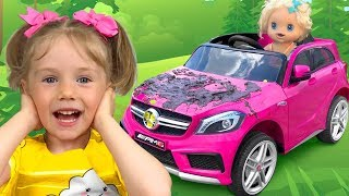 Sasha and Nika in stories about Car Washing and Superheroes Children