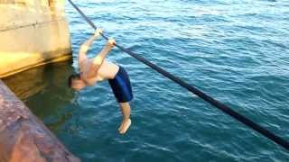 Workout on the slackline (waterline)