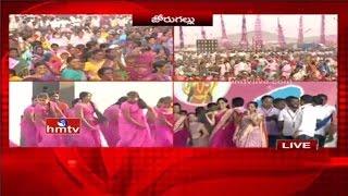 TRS Activists Cultural Programs and Dances at Warangal Public Meeting | Live Updates
