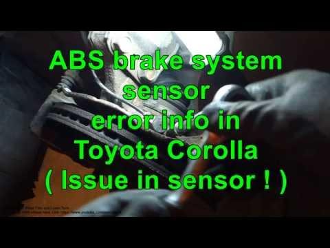 ABS brake system sensor error Toyota Corolla. Years 2000 to 2010