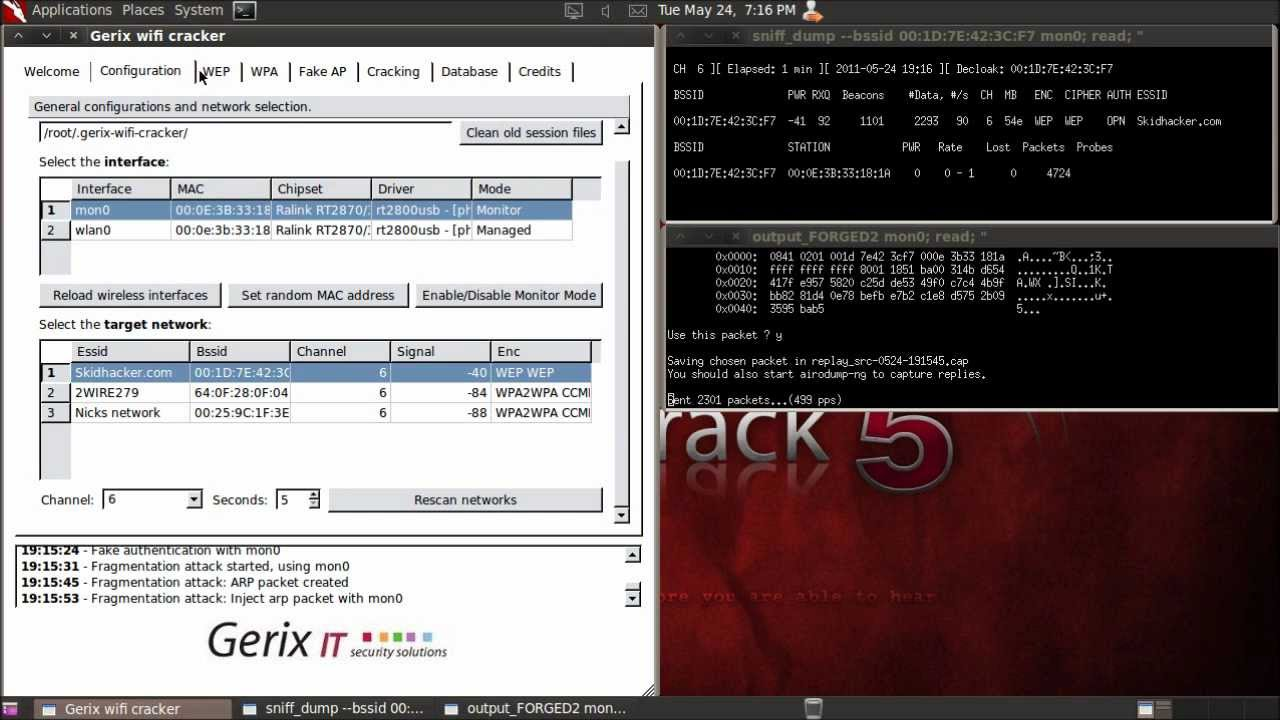 Backtrack 5 - Automated WEP Cracking with Gerix