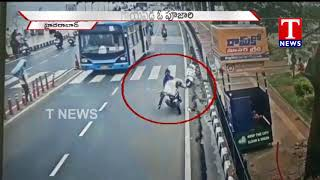 Shocking Accident | Hyderabad biker rams into ISKCON Temple priest on Zebra Crossing  Telugu