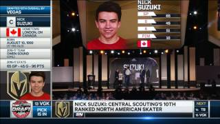 Vegas drafts Nick Suzuki with their 2nd selection in the first round