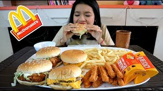 MUKBANG BURGER MCD , SPICY CHICKEN FINGERS , APPLE BANANA PIE , FRENCH FRIES || MUKBANG INDONESIA